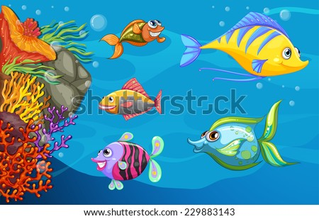 A school of fish under the deep sea - stock vector