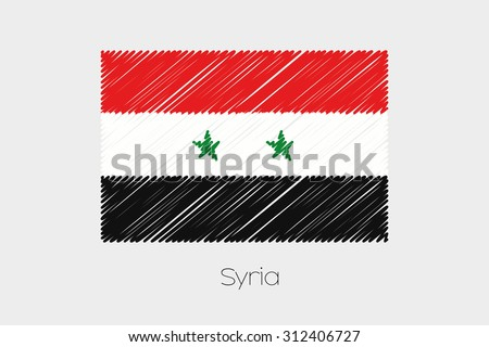 A Scribbled Flag Illustration of the country of Syria - stock vector