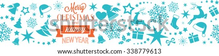 A seamless border with Merry Christmas and Happy New Year typography and Christmas, winter symbols, ornaments like Christmas trees, Santa hats, ribbons, gifts, angels, hearts, stars and snowflakes.  - stock vector