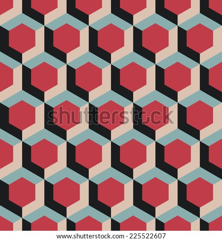 A seamless hexagonal style repeating pattern background - stock vector