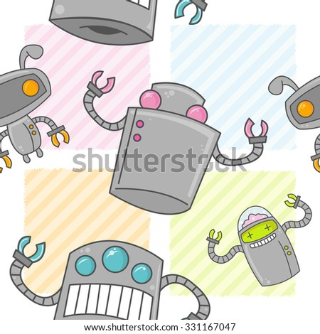 A seamless pattern of cute cartoon robots with colorful backgrounds. - stock vector