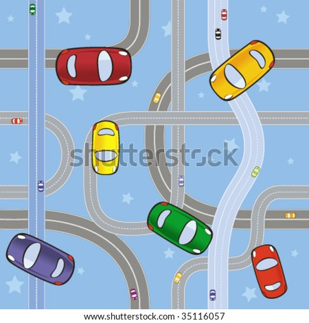 A seamless pattern with cars on roads - stock vector
