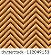 A seamless 60s retro zigzag pattern in warm colours, which is made of a mosaic of rounded squares. Perfect for repeat tiling or a stand alone wallpaper. - stock vector
