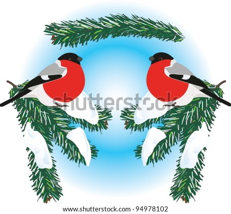 A seamless vector picture of bullfinches on snowy spruce branches. - stock vector