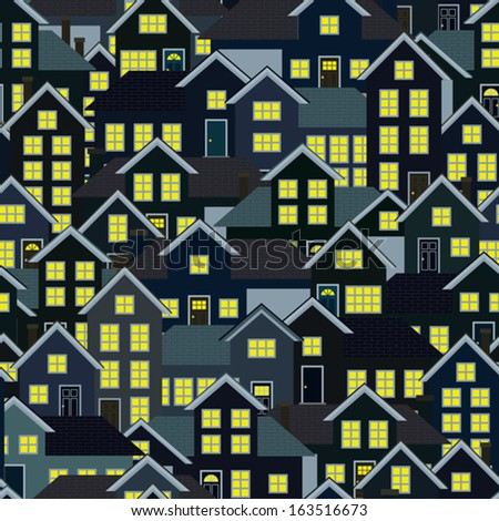 A seamlessly repeatable background depicting a crowded residential neighborhood at night. Eps 8 Vector. - stock vector