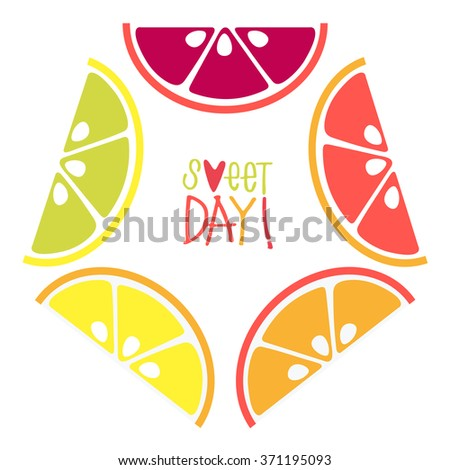 A selection of citrus fruits slices arranged into a shape pentagon. Funny bright illustration with lemon, mandarin, orange, grapefruit and lime in vector. Poster background. Set flat icons of food - stock vector