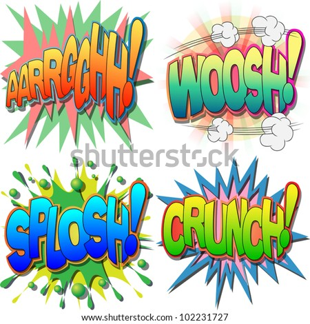 A Selection of Comic Book Exclamations and Action Words, Argh, Woosh, Splosh, Crunch - stock vector