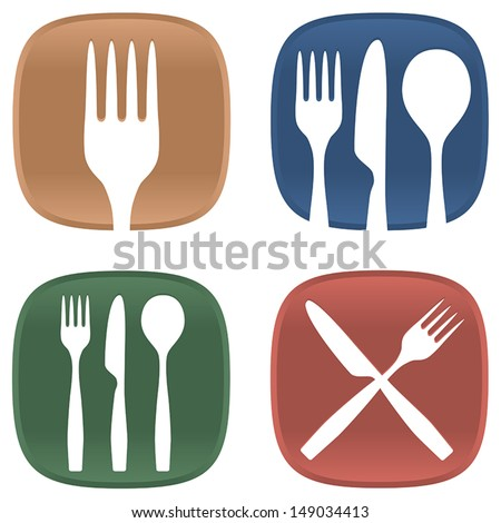 A selection of dining symbols with cutlery and plates in several colors. - stock vector