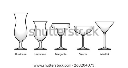 A selection of glasses: cocktail, dessert, hurricane, margarita, saucer, and martini. With labels. - stock vector