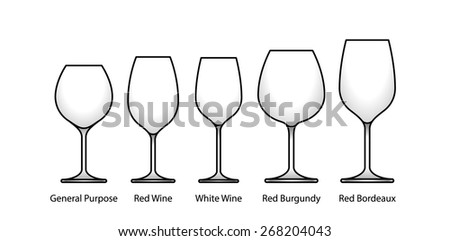A selection of glasses: general, red, burgundy, bordeaux and white wines. With labels. - stock vector