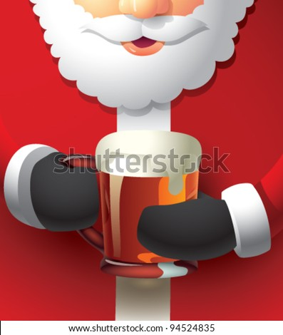 A semi-realistic cartoon illustration of Santa Claus holding a glass mug of beer with both hands. The mug is filled all the way to the top with some froth dripping down the side. CMYK vector image. - stock vector