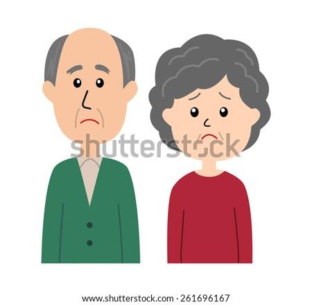A senior couple with a sad facial expression, vector illustration - stock vector