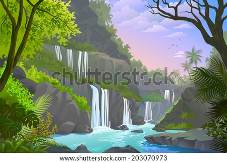 A serene view of waterfalls, cliffs and a natural rocky environment  - stock vector