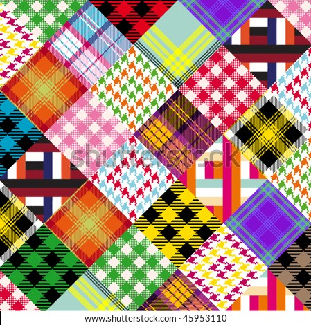 a series of plaids and checks done like a patchwork quilt - stock vector