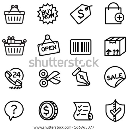 A series of shopping icons for website, presentation and application - stock vector