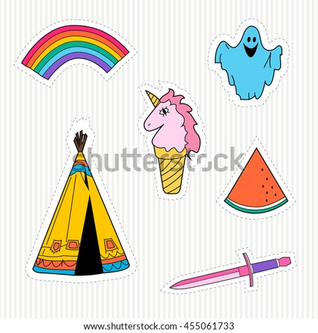 A set cartoon patch badges.patches collection.vector illustration - stock vector