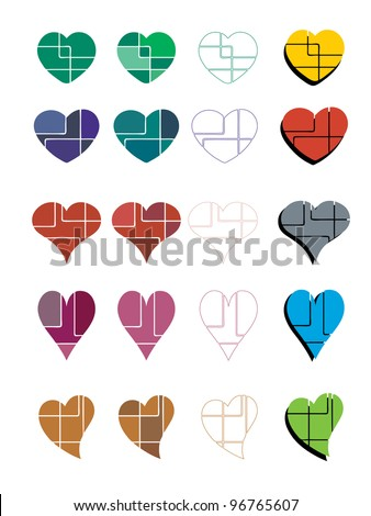 A set of abstract colorful hearts - stock vector