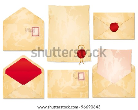 A set of aged blank vintage stationery with envelopes, postal cancellations, notepaper and wax seals - stock vector