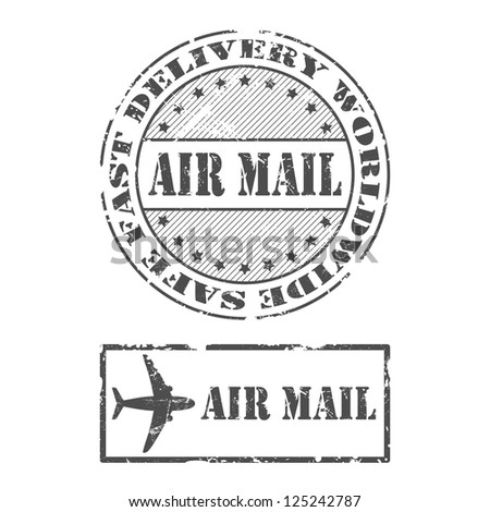 A set of Air mail stamps in grunge style - stock vector