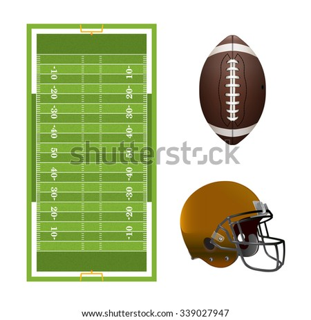 A set of American football elements, field, helmet, and ball isolated on white. Vector EPS 10 available. EPS file contains transparency and gradient mesh. - stock vector
