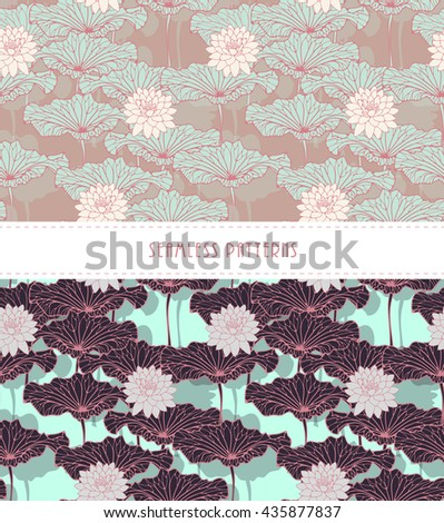 a set of Asian style lotus pond seamless patterns in soft blue, pink, and brown shades - stock vector