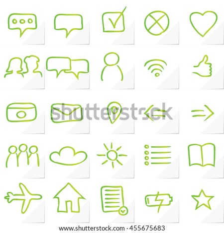 A Set of 25 Authentic Multipurpose App Icons and Symbols - Green Marker Drawn Elements on White Natural Paper Effect Background - Infographic Pictogram Sketch Style - stock vector