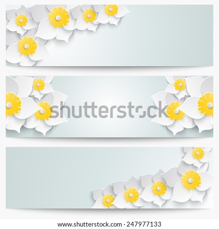 A set of banners with 3d white daffodils. Spring floral paper  labels. Vector illustration.  - stock vector