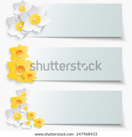 A set of banners with 3d yellow daffodils. Spring floral paper stickers. Vector illustration. - stock vector