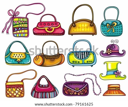 A set of beautifully designed colorful purses. Cute different shapes and prints. - stock vector