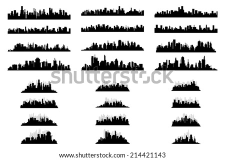 a set of black silhouettes of cityscapes on a white background - stock vector