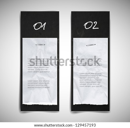 A set of black vector cardboard banners with torn paper pieces attached - stock vector