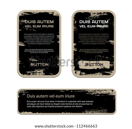 A set of black vector vintage military style badges with grunge weathered paint background - stock vector