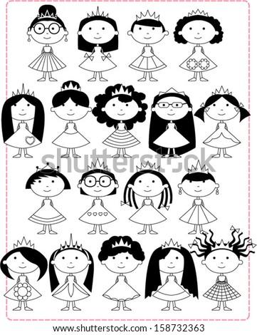 A set of 18 black/white little princesses. - stock vector