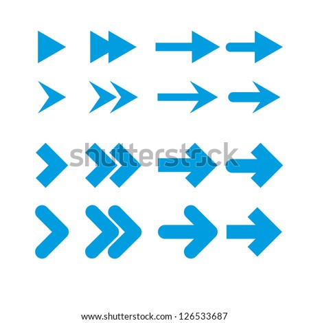 A set of blue arrows on a white background. - stock vector