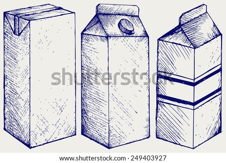 A set of boxes for milk and juice. Doodle style - stock vector