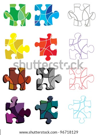 A set of brightly colored abstract puzzle pieces - stock vector