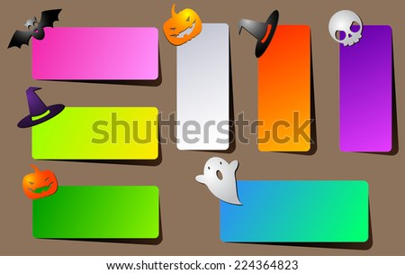 A set of brightly colored paper banners with shadow or invitations for Halloween party with a hat, bat, skull, Ghost and pumpkin - stock vector