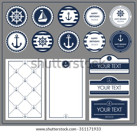 A set of cards in a nautical theme - stock vector