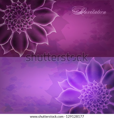 A set of cards with large flowers - stock vector