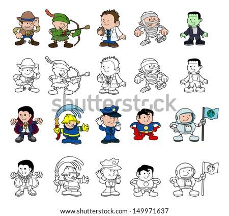 A set of cartoon people or children playing dress up. Color and black and white outline versions. - stock vector