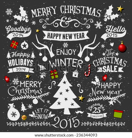 A set of chalkboard style Christmas elements. Typographic designs, hand-drawn labels, tags and embellishments. - stock vector