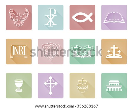A set of Christian icons and symbols inclusing cross and Christian fish - stock vector