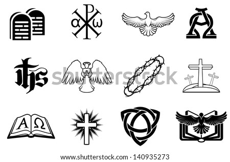 A set of Christian icons including angel, dove, alpha omega, Chi Ro and many more - stock vector