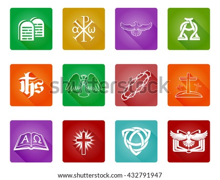 A set of Christian religious icons and symbols with alpha omega, chi rho and bible - stock vector