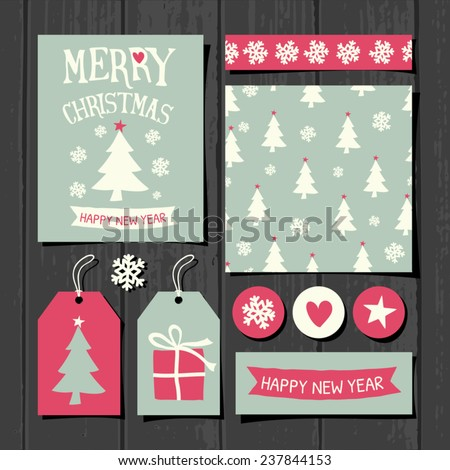 A set of Christmas gift tags, stickers, greeting card template, seamless pattern and washi tape on a gray wooden background. - stock vector