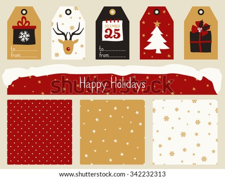 A set of Christmas printables - gift tags, seamless patterns and a banner/ header in red, white, black and gold. Perfect for greeting cards, scrapbooking, party invitations, etc. - stock vector