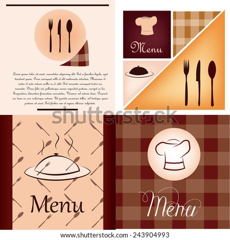 a set of colored backgrounds with text and different menu icons - stock vector