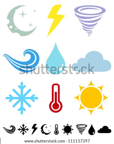 A set of colored icons Weather - stock vector