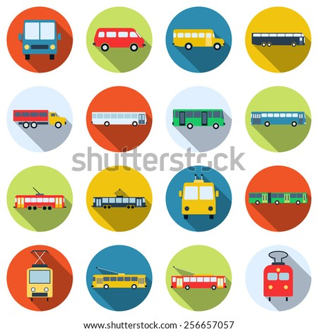 A set of colorful buses, trams and trolleybuses vector icons. Flat design style elements collection. - stock vector
