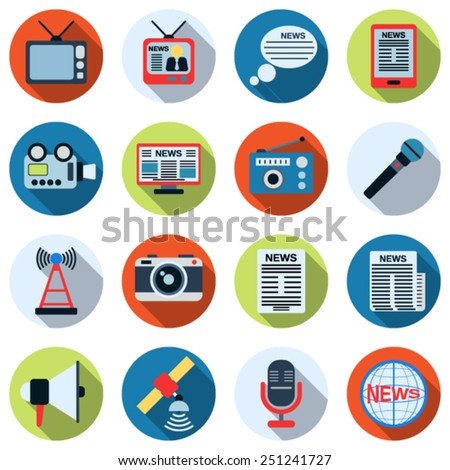 A set of colorful news icons. Flat design style web elements collection. - stock vector